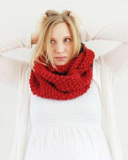 Stickad tubhalsduk, halsduk | Olivia - Färg: Hallon