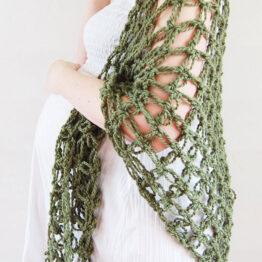 Simone - Färg: Mossa - Virkad sjal