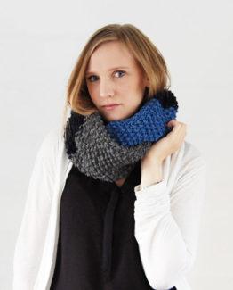 Olga - Färg: Asfalt, Mörkblå, Marin - Stickad halsduk
